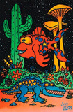 Paleon Fish & Gator Flocked Blacklight Poster Print Plakater