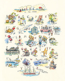 ABC of The Seaside Giclée-tryk af Claire Fletcher