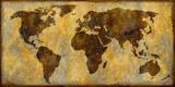 Carte du monde Reproduction procédé giclée par Paul Duncan