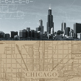 Chicago Map I Giclee Print by  The Vintage Collection