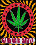 Cannabis Sativa Pot Leaf - Opticz Cloth Fabric Poster                 Posters