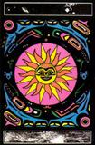 Tribal Sun Flocked Blacklight Poster Print Photo