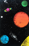 Planets Flocked Blacklight Poster Print Posters
