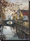 Brugge Reflections Stretched Canvas Print by Robert Schaar