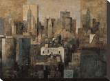 Manhattan and Black Structures Stretched Canvas Print by Marti Bofarull