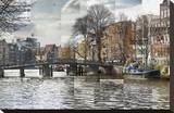 Zwanenburgwal Canal Stretched Canvas Print by Pep Ventosa