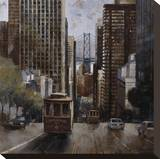 Cable Cars in San Francisco Stretched Canvas Print by Marti Bofarull