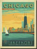 Chicago, Illinois: Enjoy The Lakefront Stretched Canvas Print by  Anderson Design Group