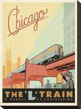 Chicago: The 'L' Train Stretched Canvas Print by  Anderson Design Group