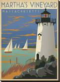 Martha's Vineyard, Massachusetts (Lighthouse) Stretched Canvas Print by  Anderson Design Group