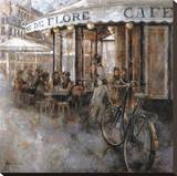 Cafe de Flore, Paris Stretched Canvas Print by Noemi Martin