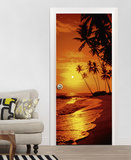 Sunny Palms - Door Wallpaper Mural Wallpaper Mural