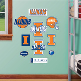 NCAA Illinois Fighting Illini - Team Logo Assortment Wall Decal Sticker Wall Decal