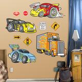 Race Cars Wall Decal Sticker - Duvar Çıkartması
