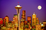 Seattle Skyline and Space Needle At Night From Queen Anne Hill Photographic Print by Tim Thompson