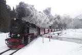 Meter-gauge 2-10-2T Steam Locomotive 99 7238-1 in a Snowy Landscape Fotografisk tryk af Kent Kobersteen