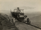 A Patrol Car On Train Tracks in the Sierra National Forest Photographic Print by  U.S.Forest Service