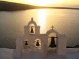 Sunset On the Aegean Sea, Behind a Set of Church Bells Fotografisk tryk af Charles Kogod