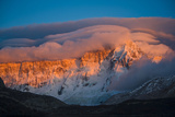 The Cloud Capped Massif of Cerro San Lorenzo Turns Pink in Dawn Light Photographic Print by Beth Wald
