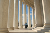 A Young Couple Walks Through the Jefferson Memorial in Washington D.C Photographic Print by Lori Epstein