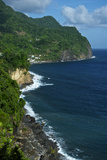 The Wild, Windward Coast of Dominica Tumbles to the Caribbean Sea Reproduction photographique par Jad Davenport