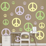 Lavendar Light Green Light Yellow Peace Signs Wall Decal Sticker Adhésif mural