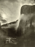 Mist Rises As El Capitan Towers 3,600 Feet Above the Merced River Photographic Print by Gabriel Moulin