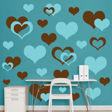 Brown & Turquoise Hearts Wall Decal Sticker Adhésif mural