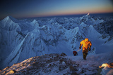 Mountaineers On 26,360-foot Gasherbrum II At Sunset Photographic Print by Cory Richards