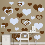 Brown & Light Blue Hearts Wall Decal Sticker Wall Decal