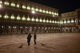 City Workers Sweep Piazza San Marco in Venice Before Dawn Photographic Print by Dave Yoder