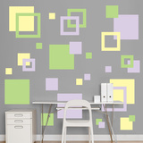 Lavender, Light Green & Light Yellow Squares Wall Decal Sticker Kalkomania ścienna