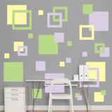 Lavender, Light Green & Light Yellow Squares Wall Decal Sticker - Duvar Çıkartması