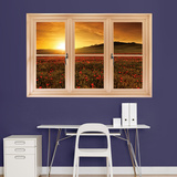Poppy Field at Sunset, Tuscany Instant Window Wall Decal Sticker Wall Decal
