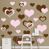 Brown & Pink Hearts Wall Decal Sticker - Duvar Çıkartması