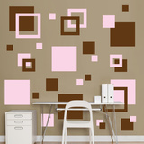 Brown & Pink Squares Wall Decal Sticker Wall Decal