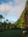 A Rainbow Arcs Over Kaula Laka Heiau, a Sacred Altar Photographic Print by Diane & Len Cook & Jenshel