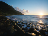 The  Rock-covered Kalalau Beach At Sunset Photographic Print by Diane & Len Cook & Jenshel