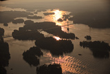 Aerial View of the Thousand Islands International Bridge At Sunset Photographic Print by Will Van Overbeek