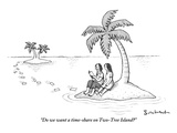 """""""Do we want a time-share on Two-Tree Island?"""" - New Yorker Cartoon Premium Giclee Print by David Borchart"""