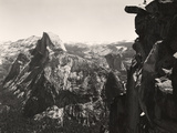 A Small Figure Contrasts Against Yosemite Valley and Half Dome Photographic Print by Yosemite Park and Amp Curry Co