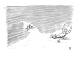 Moses is laying on a beach chair parting the sea around a sand castle. - New Yorker Cartoon Premium Giclee Print by Paul Noth
