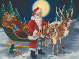 Santa with lantern Poster by Susan Comish