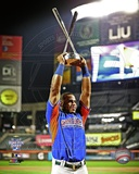 Yoenis Cespedes of the Oakland Athletics with trophy MLB All-Star Home Run Derby on July 15, 2013 Photo