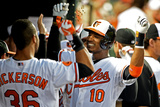 Baltimore, MD - June 10: Adam Jones and Chris Dickerson Photographic Print