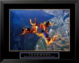 Teamwork: Skydivers Kunstdruck