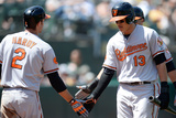 Oakland, CA - April 28: Manny Machado and Chris Davis Photographic Print