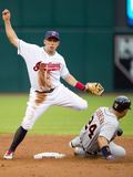 Cleveland, OH - July 5: Shortstop Asdrubal Cabrera and Miguel Cabrera Photographic Print