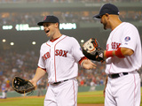 Boston, MA - June 27: Daniel Nava and Shane Victorino Photographic Print