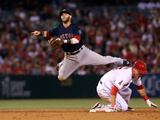 Anaheim, CA - July 05: Second baseman Dustin Pedroia and Mike Trout Photographic Print